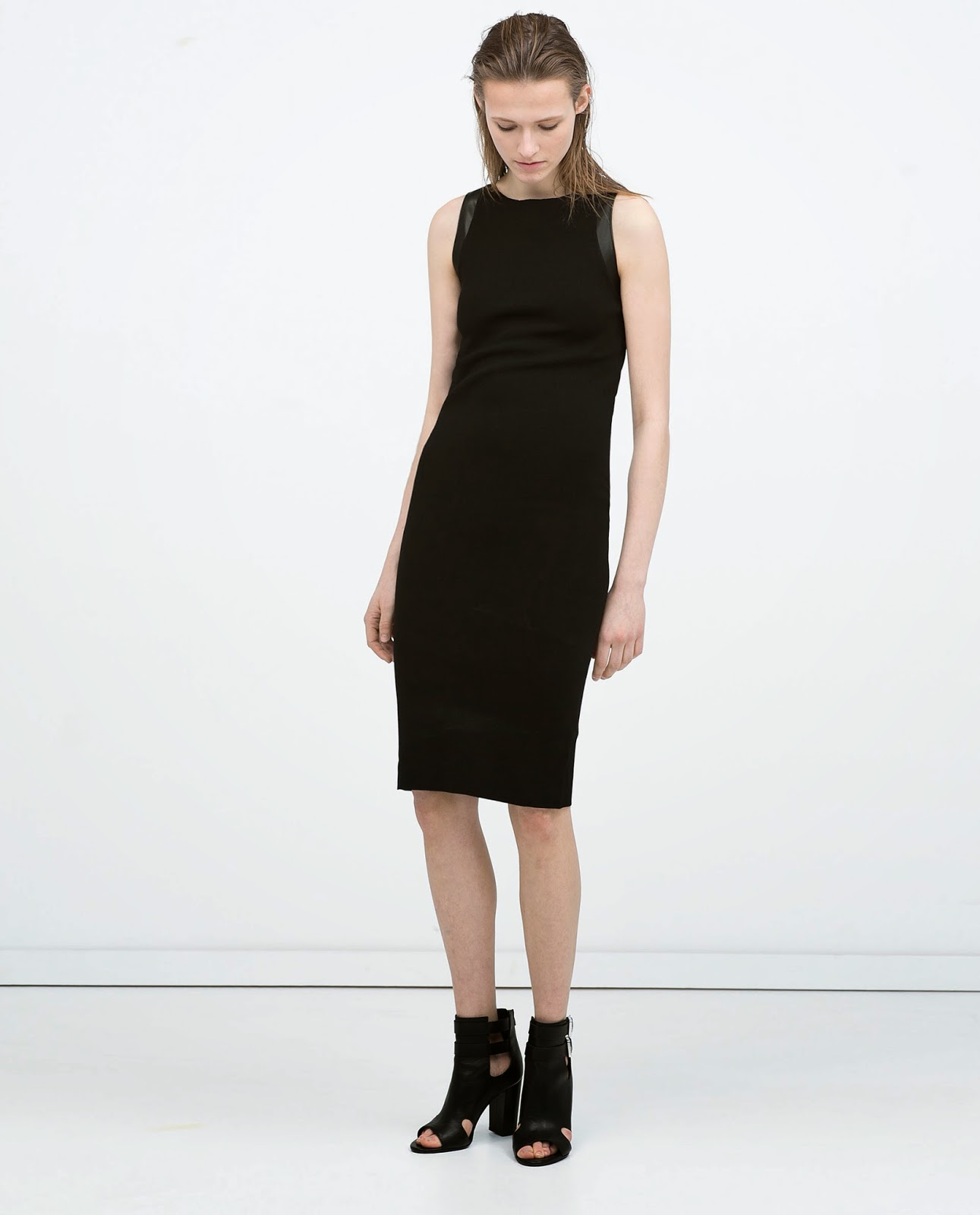 black leather zara dress