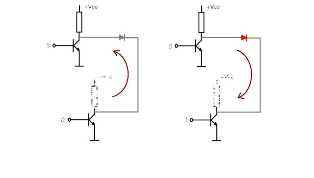 Two transistors for a led