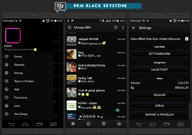 Download BBM Black Skystone Versi 2.10.0.31 APK