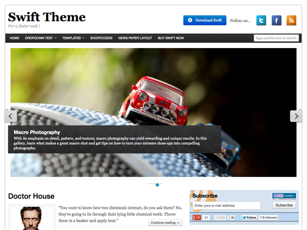 Download gratis Swift Basic Wordpress Theme , News , Blog