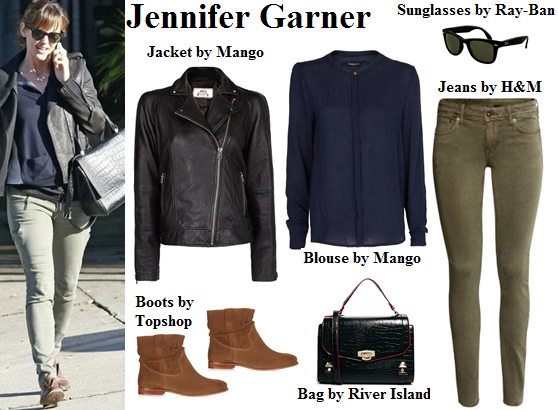 jennifer garner, navy blue, leather jacket, olive pants, boots, fall, outfit
