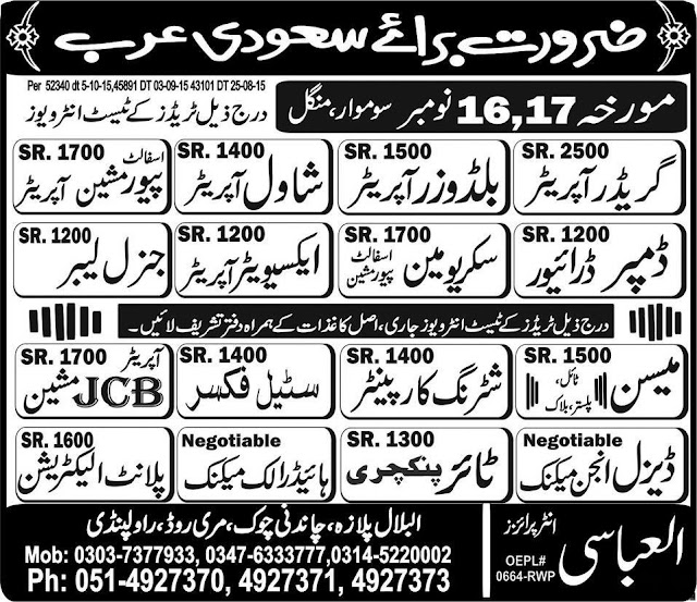 Saudi Arabia Jobs for Driver, Labor & Electrician