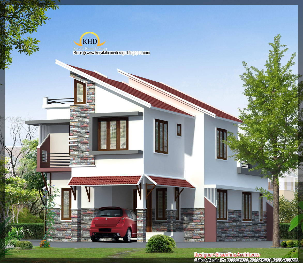 House elevation 1577 sq ft kerala home design and for Elevation of kerala homes
