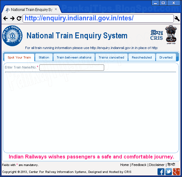 new train enquiry indianrail.gov.in ntes by cris