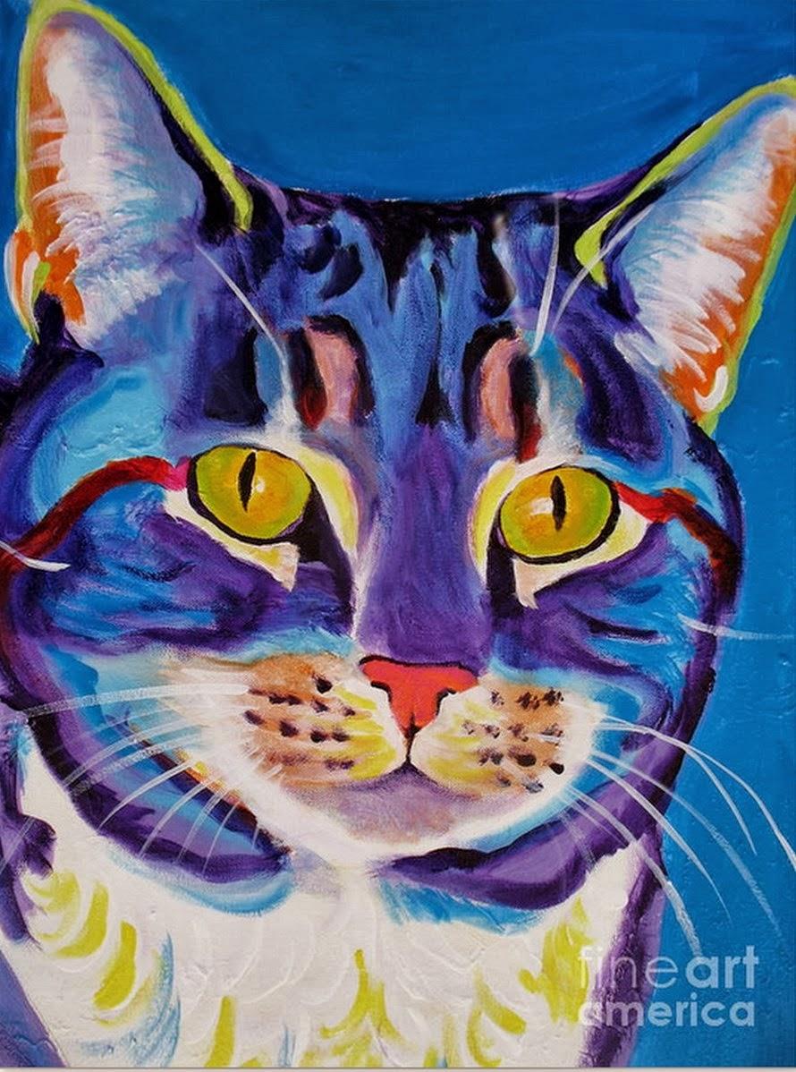 Pintura moderna y fotograf a art stica cuadros de gatos - Pinturas acrilicas modernas ...