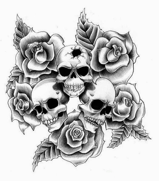 Skulls and roses tattoo stencil