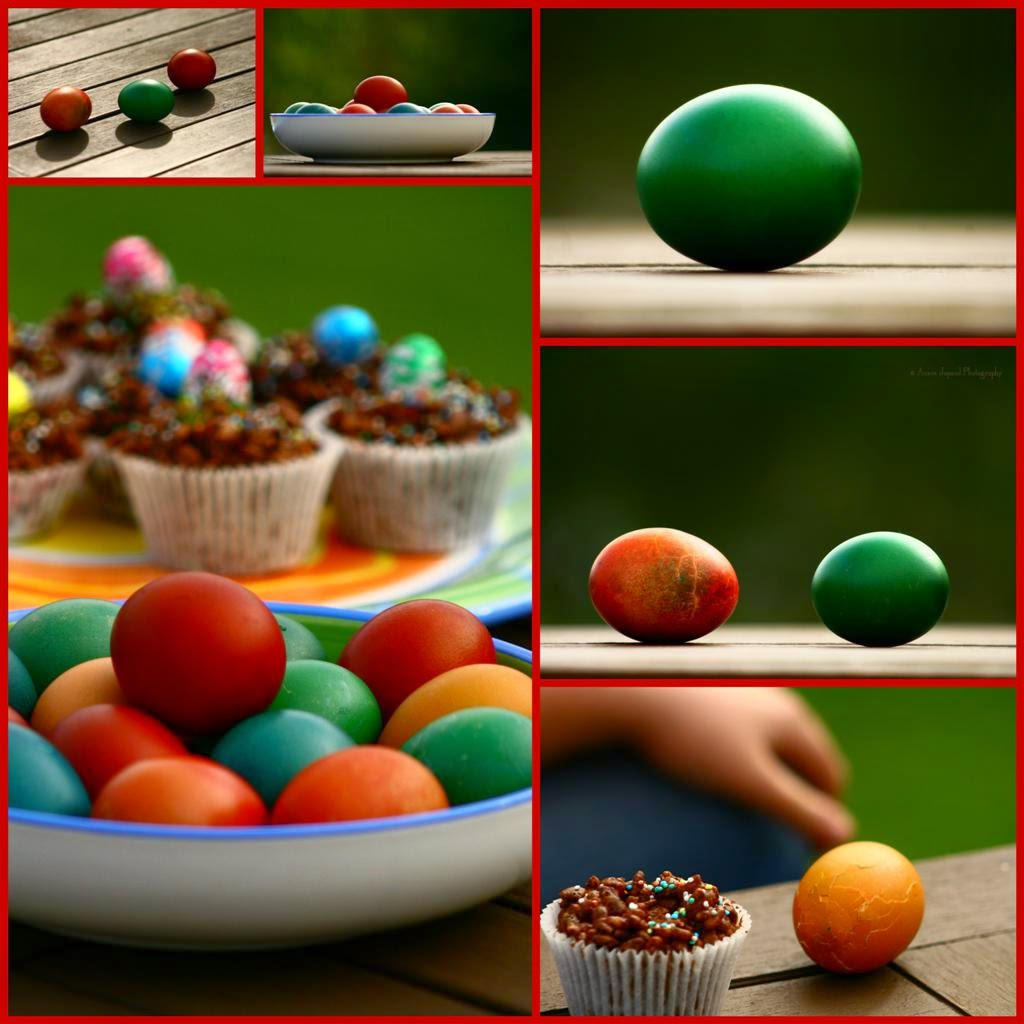 a collage with images of Easter eggs