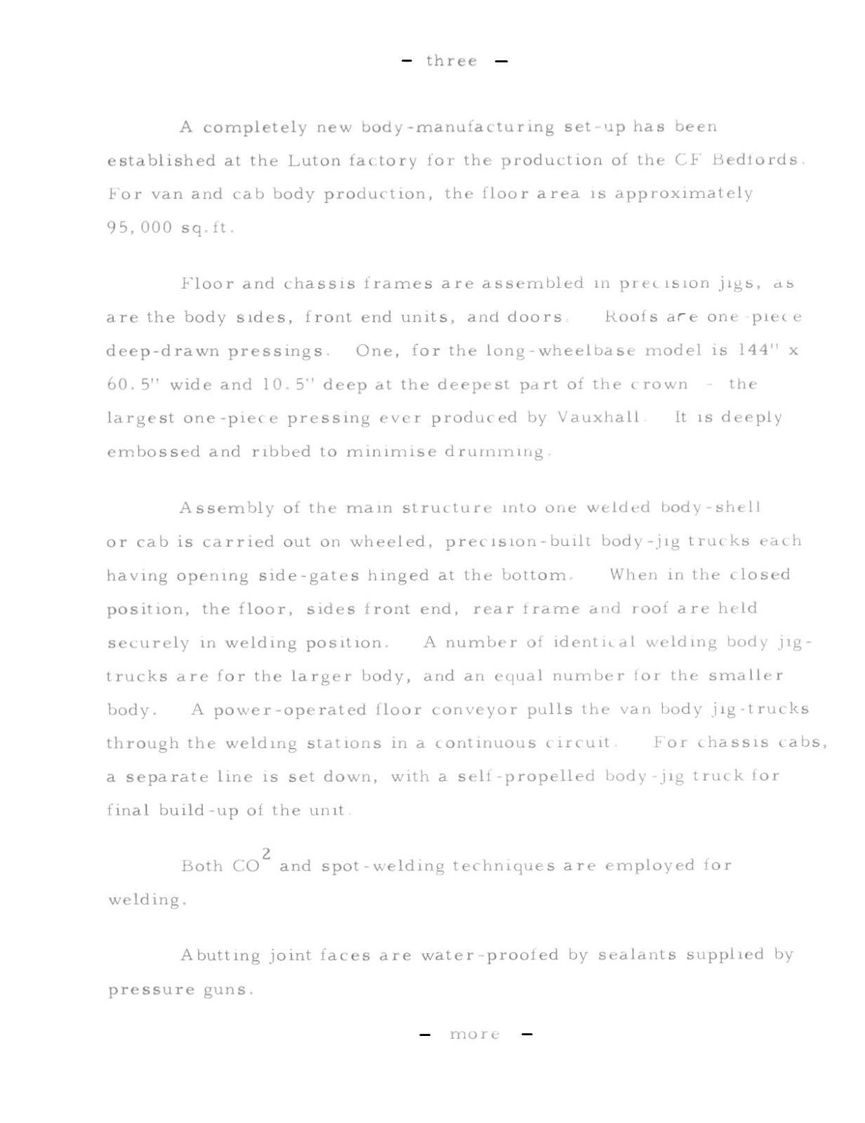 bedford cf2 van  history  1969 bedford cf press release