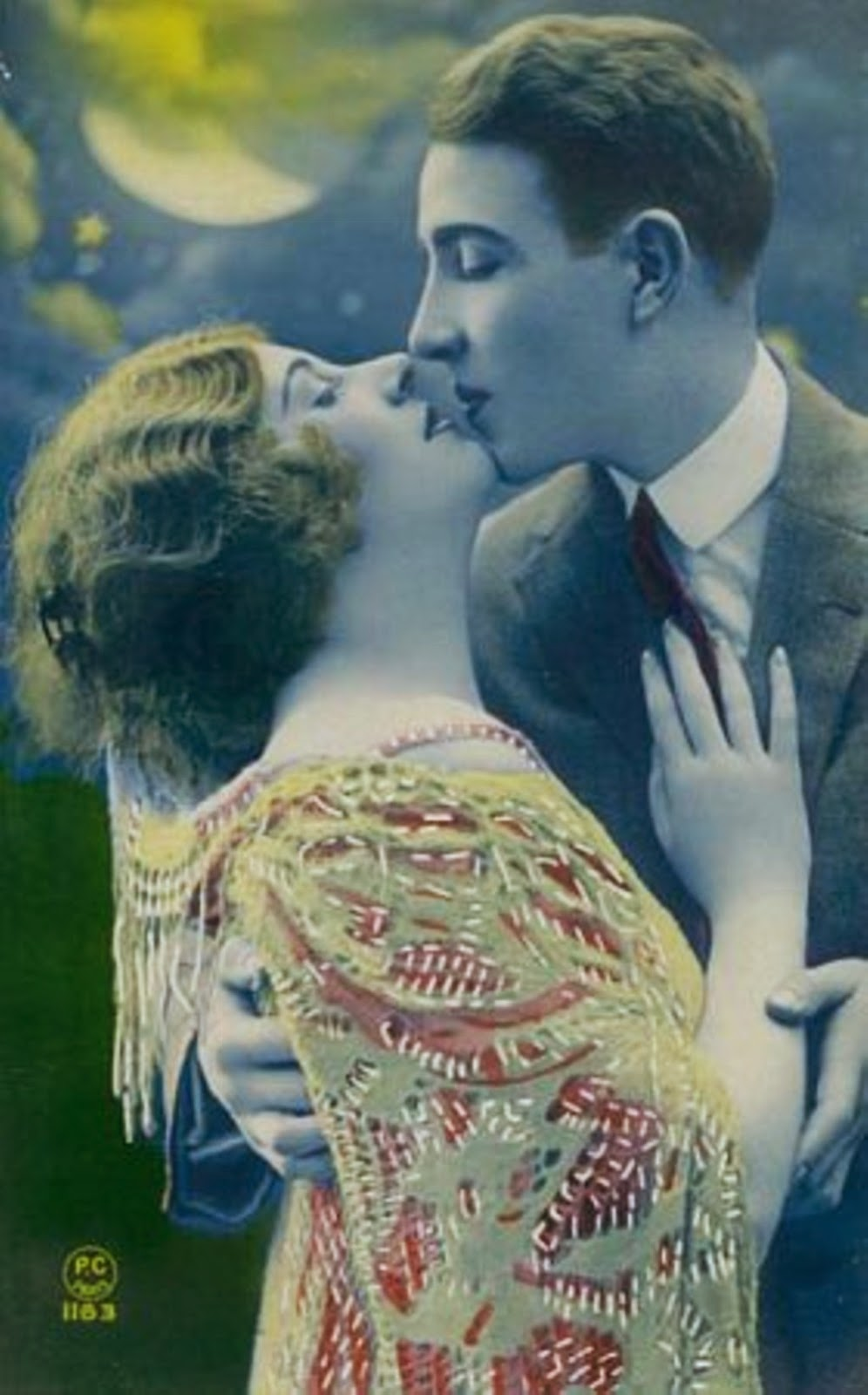 1920s man and woman romantic clinch, romance, dating, couple.Kissing