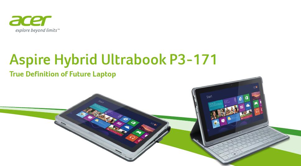 Acer Aspire p3 Ultrabook Acer Aspire Hybrid Ultrabook
