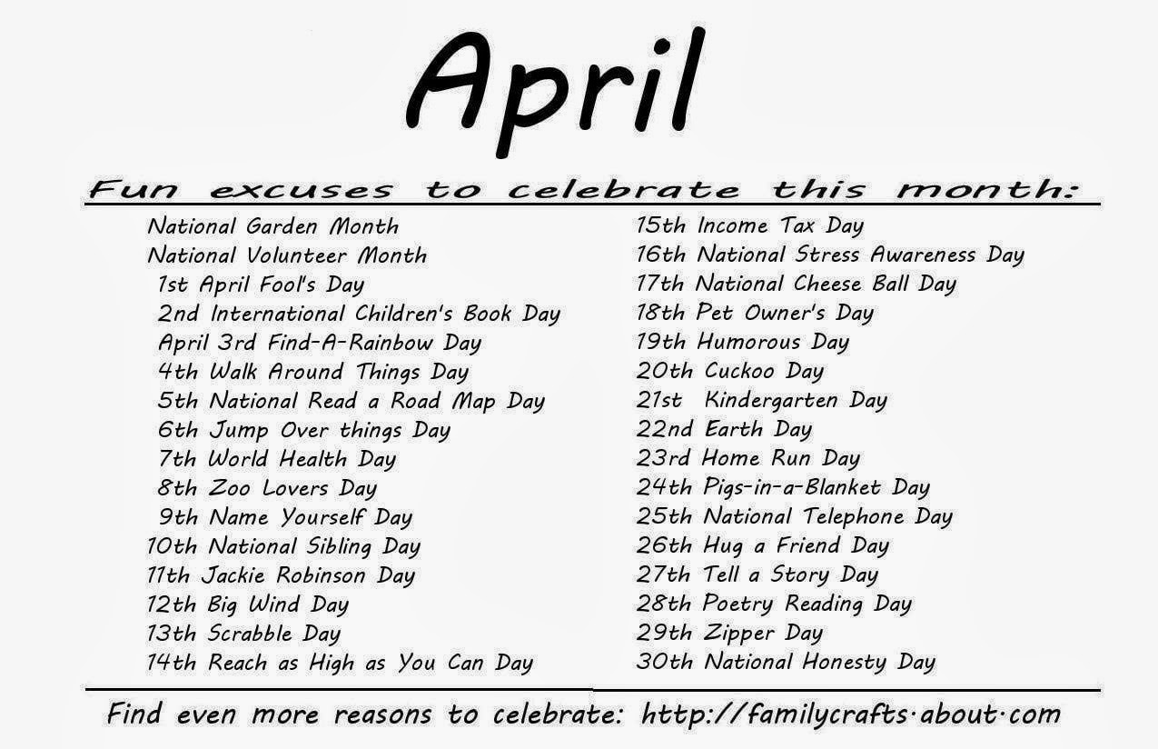 Monthly Calendar Of Events Special Days To Celebrate : Kindergarten and mooneyisms special days april