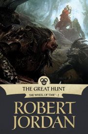 cover art for The Great Hunt, featuring a bipedal canine creature wearing heavy black armour. It looks towards a patch of light in the upper right hand corner, in which an indistinct man stands with a curved horn in his hands