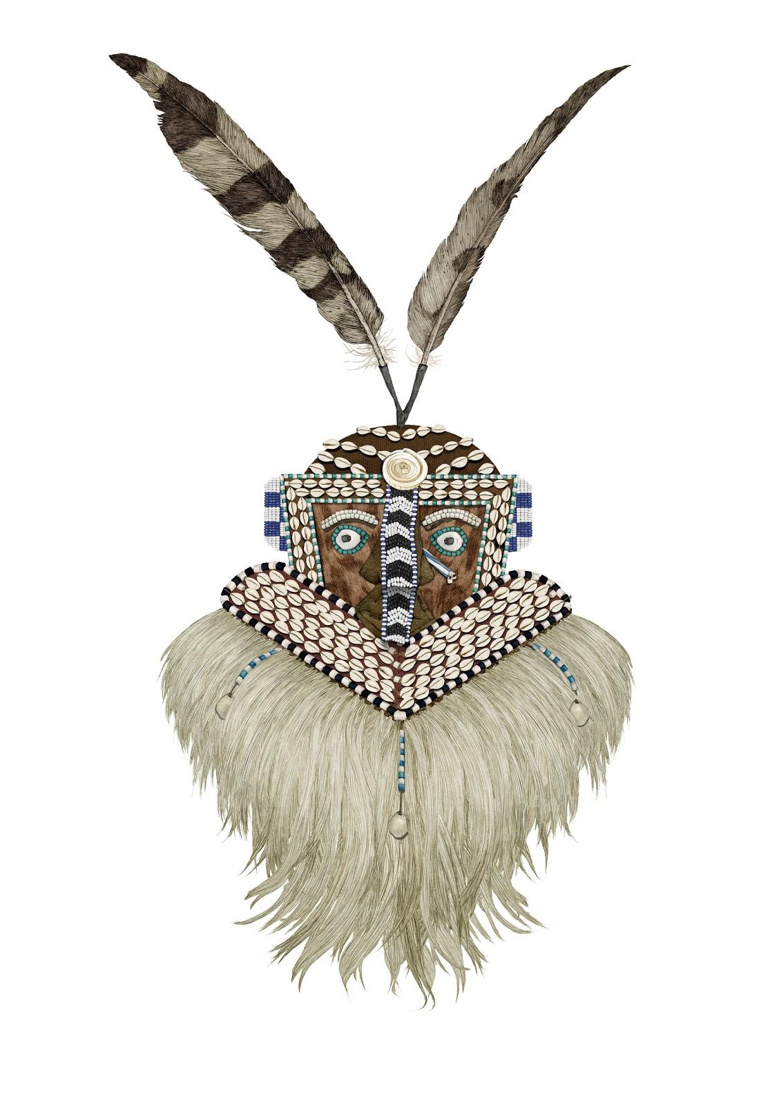 dibujo, coleccion Carsi, mascara Kuba, museo valenciano etnologia
