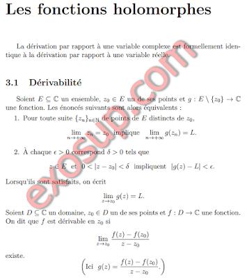 Analyse complexe cours et exercices corrigés