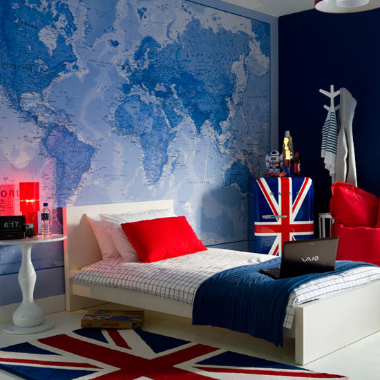 Kids bedroom wallpaper map - Blue bedroom wallpaper ideas ...