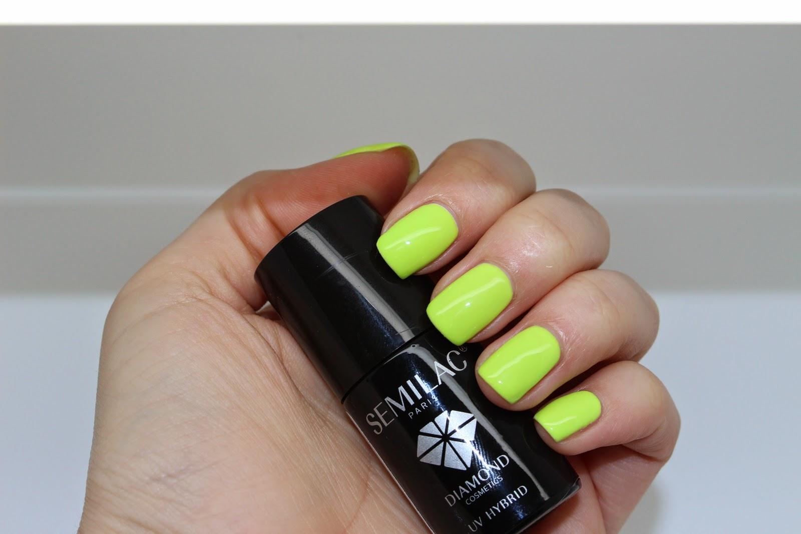 Lakier hybrydowy Semilac 143 Fresh Lime zielony neon żółty lakier lato neonowe paznokcie hybryda neonowa zieleń zielony rażący kolor intensywny hybrydowe gel neon nails gelpolish poland nails fluo color summer paznokcie na lato intensywne kolorki