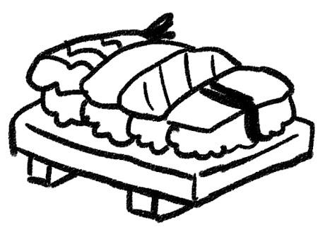 握り寿司のイラスト モノクロ線画