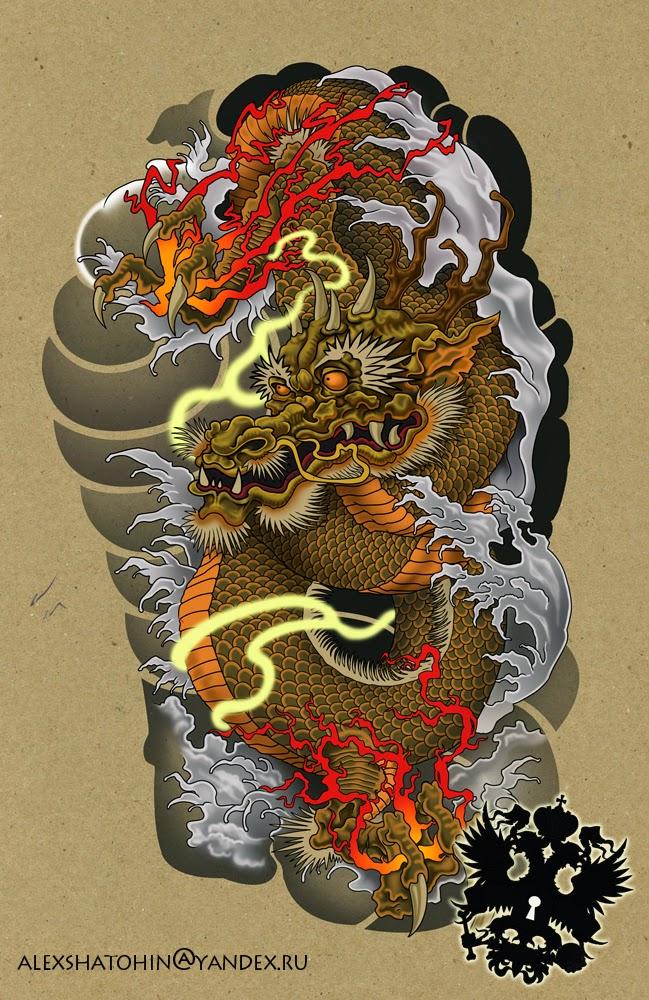 illustration de Alexander Shatohin représentant un motif de tatouage : un dragon