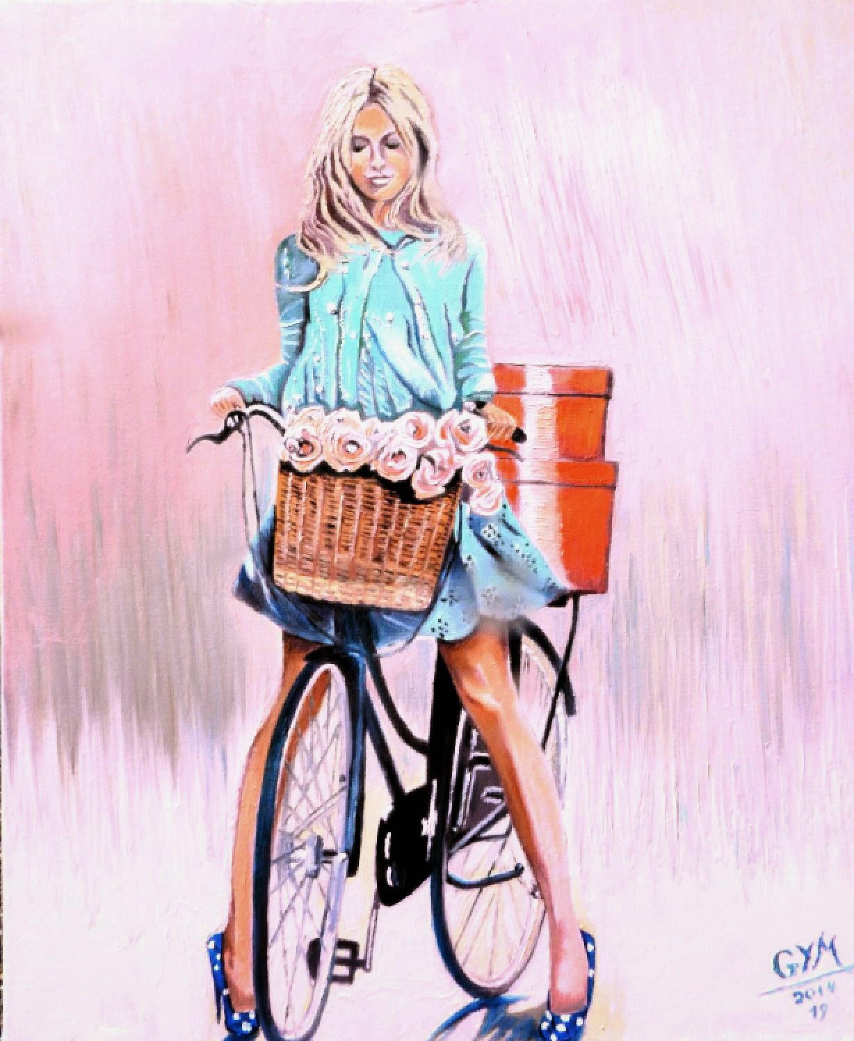 peintures de gym jeune femme v lo paris hst 15 f. Black Bedroom Furniture Sets. Home Design Ideas