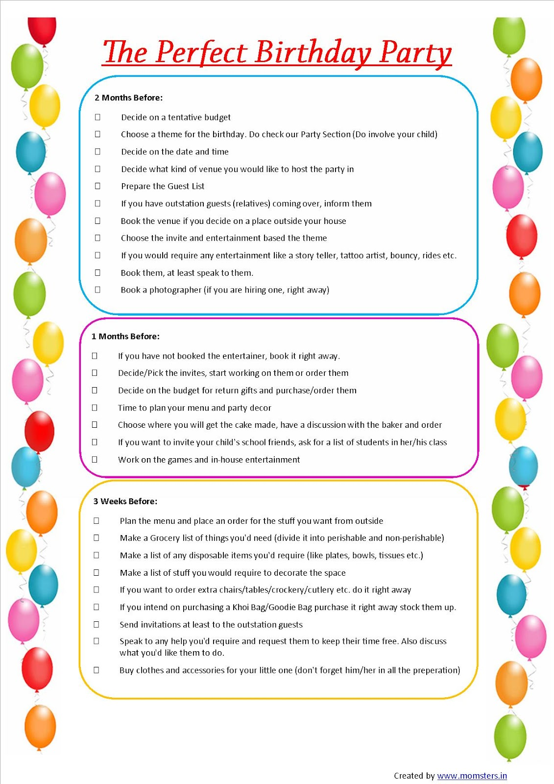 birthday cheque template - momsters parenting n all the jazz kids birthday checklist