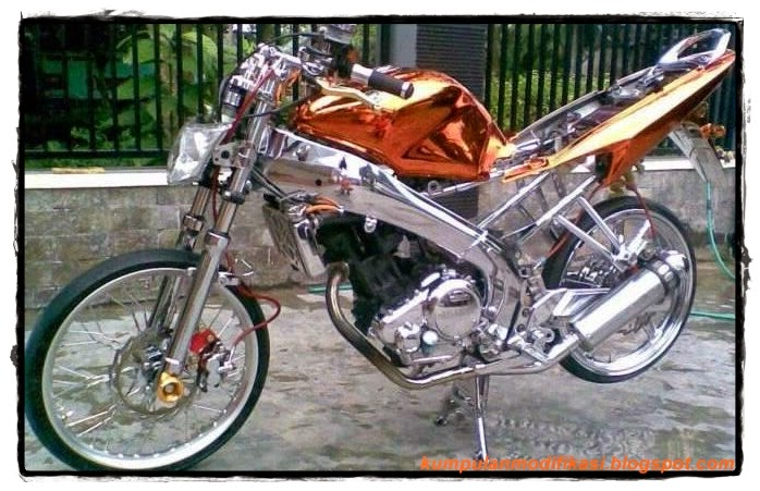 Motor Drag Bike Suzuki Satria F Modifikasi Custom Body  Tattoo Design