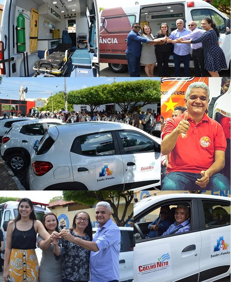 Prefeito Américo entrega 5 carros e uma ambulância para a comunidade coelhonetense.