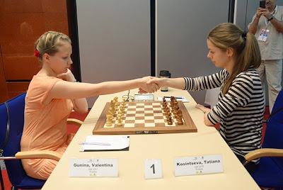 Ronde 10 : Valentina Gunina (2501) 1/2 Tatiana Kosintseva (2476) - Photo © Chess News