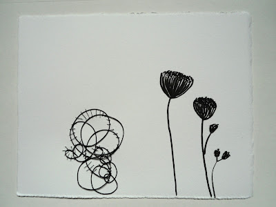 wall piece, paper, felt pen, wire, cotton thread