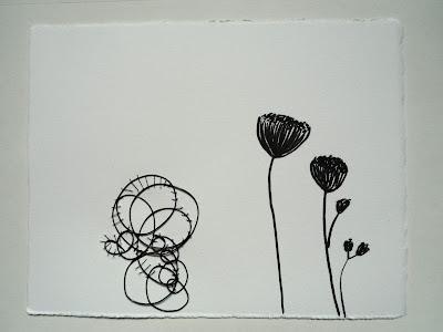 wall piece, paper, felt pen, wire, cotton thread