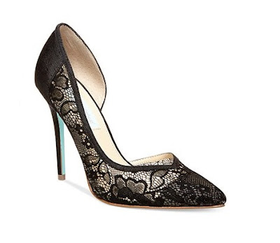 Betsey Johnson Black laced d'orsay pumps