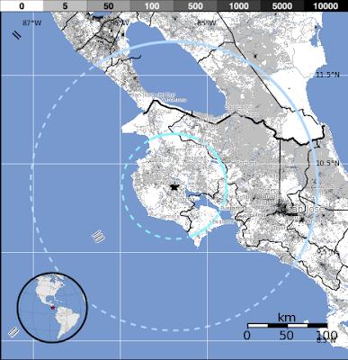 Epicentro sismo 5,3 grados, Costa Rica, 10 de octubre 2012