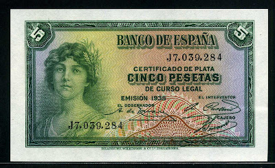 Spain currency money 5 Pesetas Silver Certificate banknote
