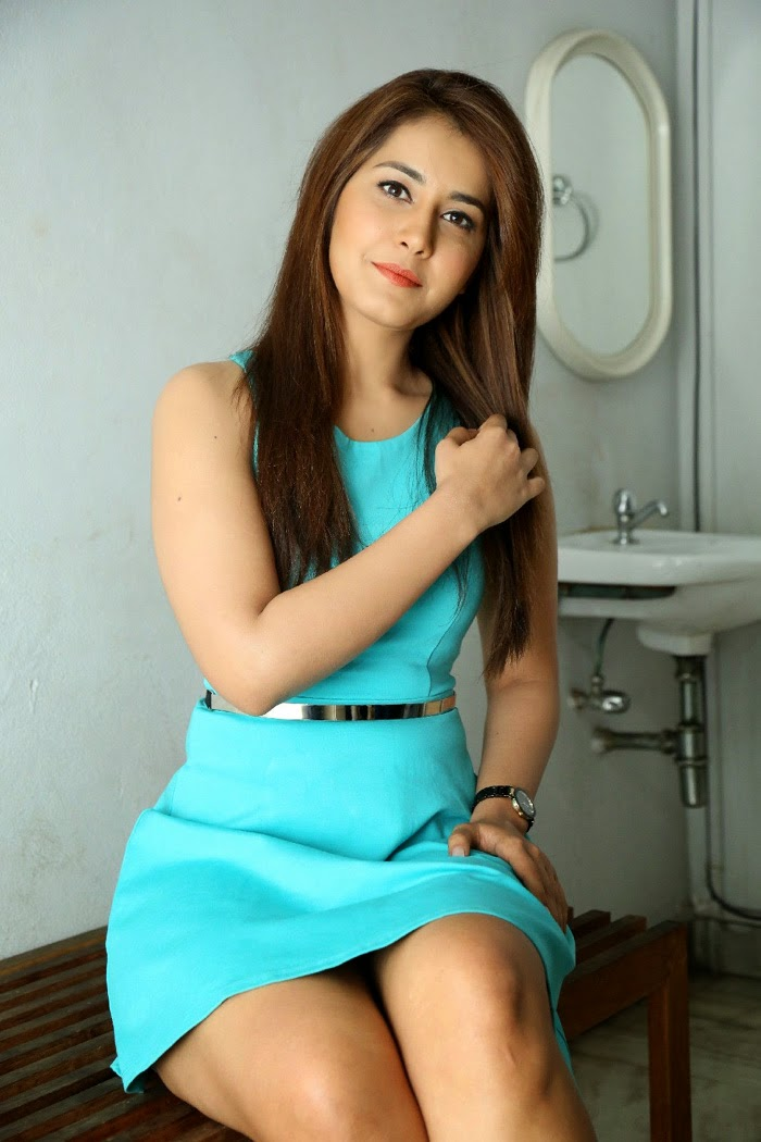 Rashi khanna hot in sky blue dress stills at jil movie release date
