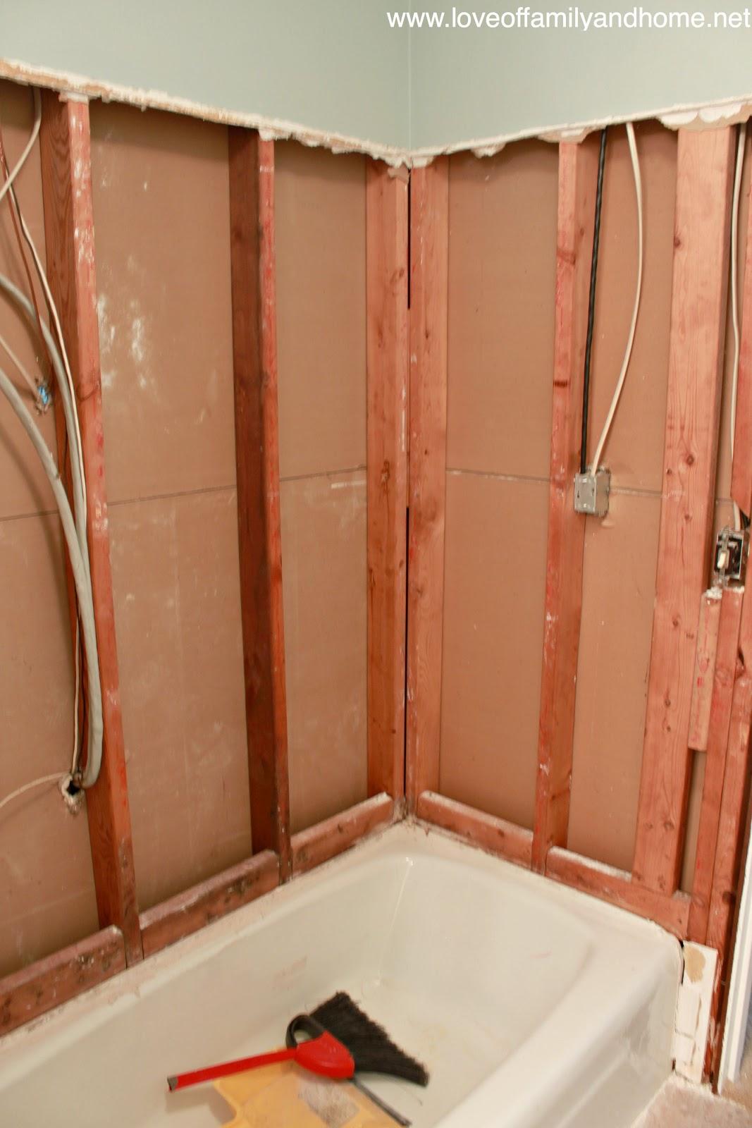 The Hallway Bathroom...Flooring U0026 A Shower Demolition   Love Of Family U0026  Home