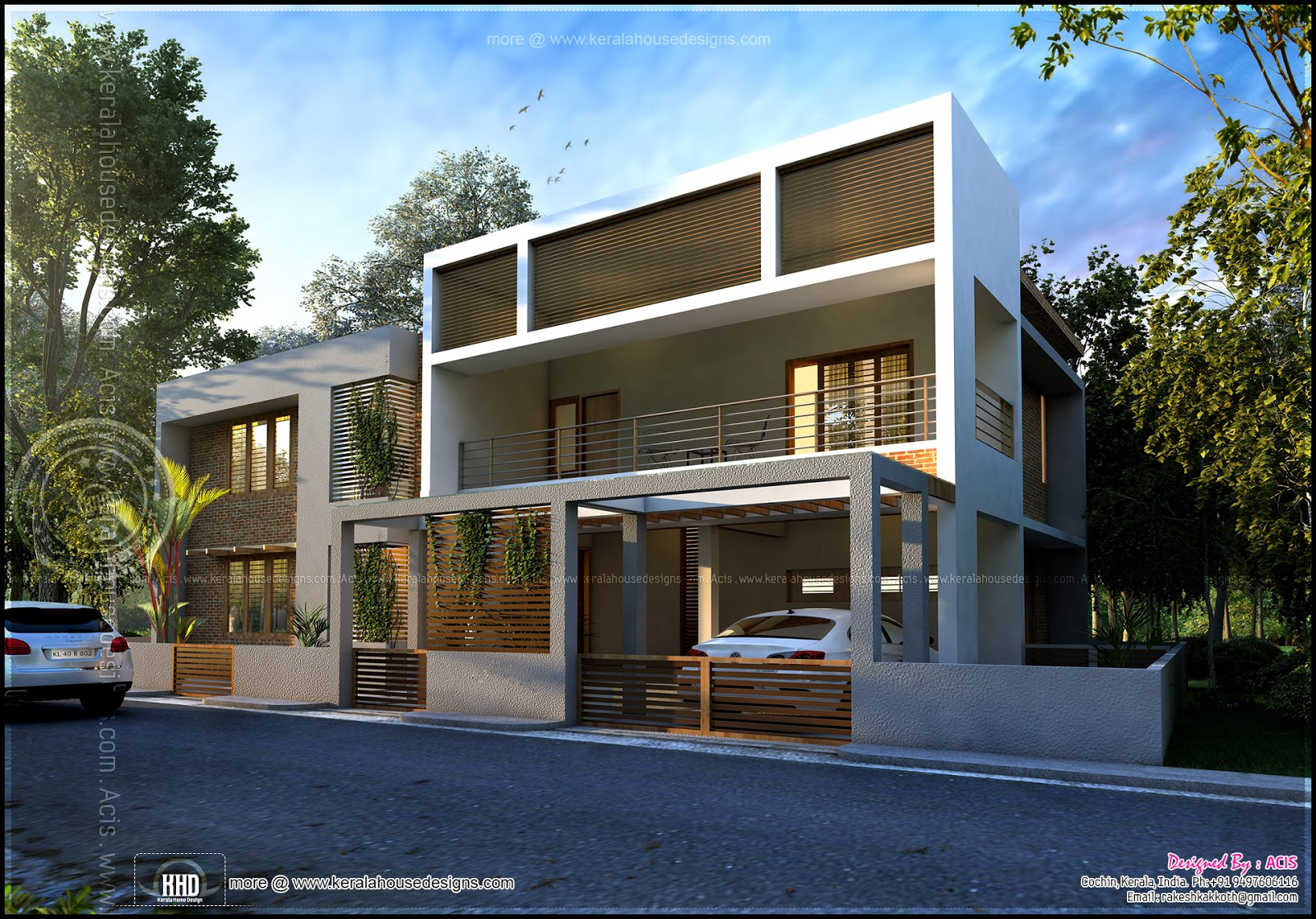 Double storied contemporary house in cochin indian house Contemporary housing