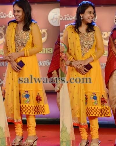 MM Srilekha Mustard Embroidery Salwar