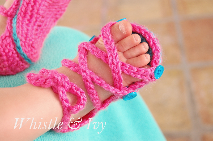 Crochet Pattern Baby Girl Sandals : Button Gladiator Baby Sandals - Whistle and Ivy