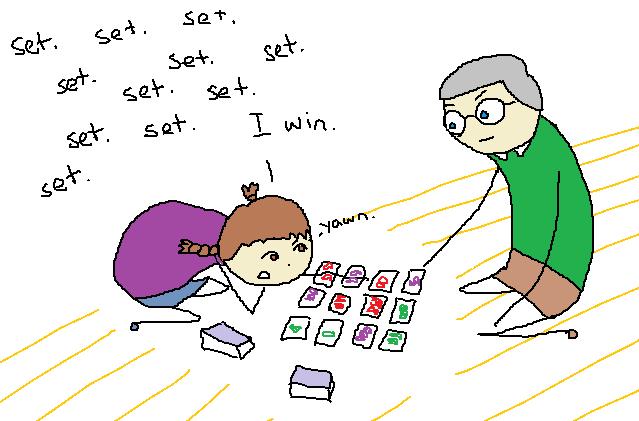 """My dad looks vaguely annoyed.  I say """"set. set. set.  set.  set.  set.  set.  set.  I win.  Yawn."""""""