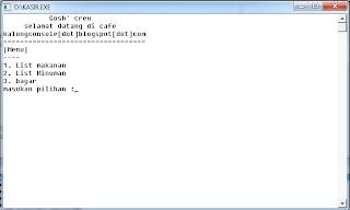 Hasil Contoh Program C++ Kasir