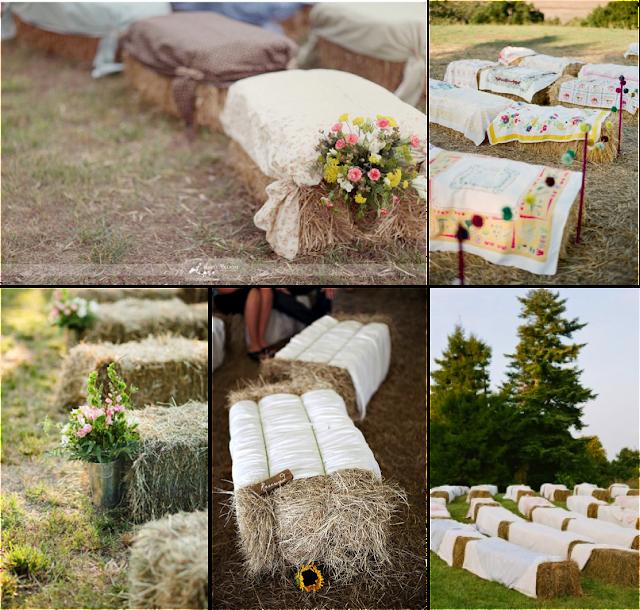 Balas de paja como asientos para tu boda