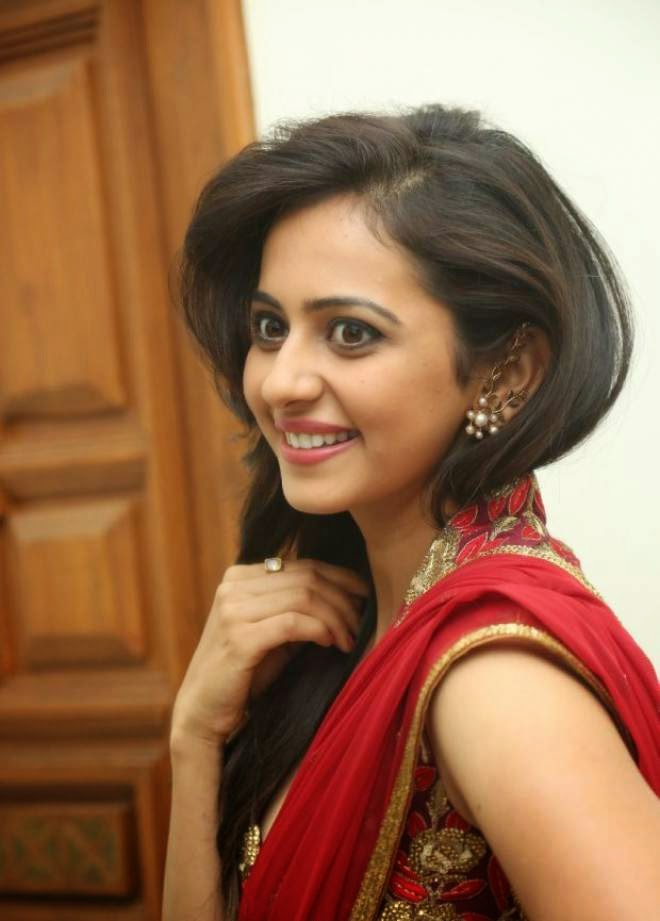Rakul Preet Singh Hot Photos In Red Saree