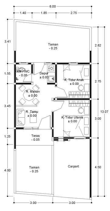 muwaqo solution rumah tipe 36 minimalis denah