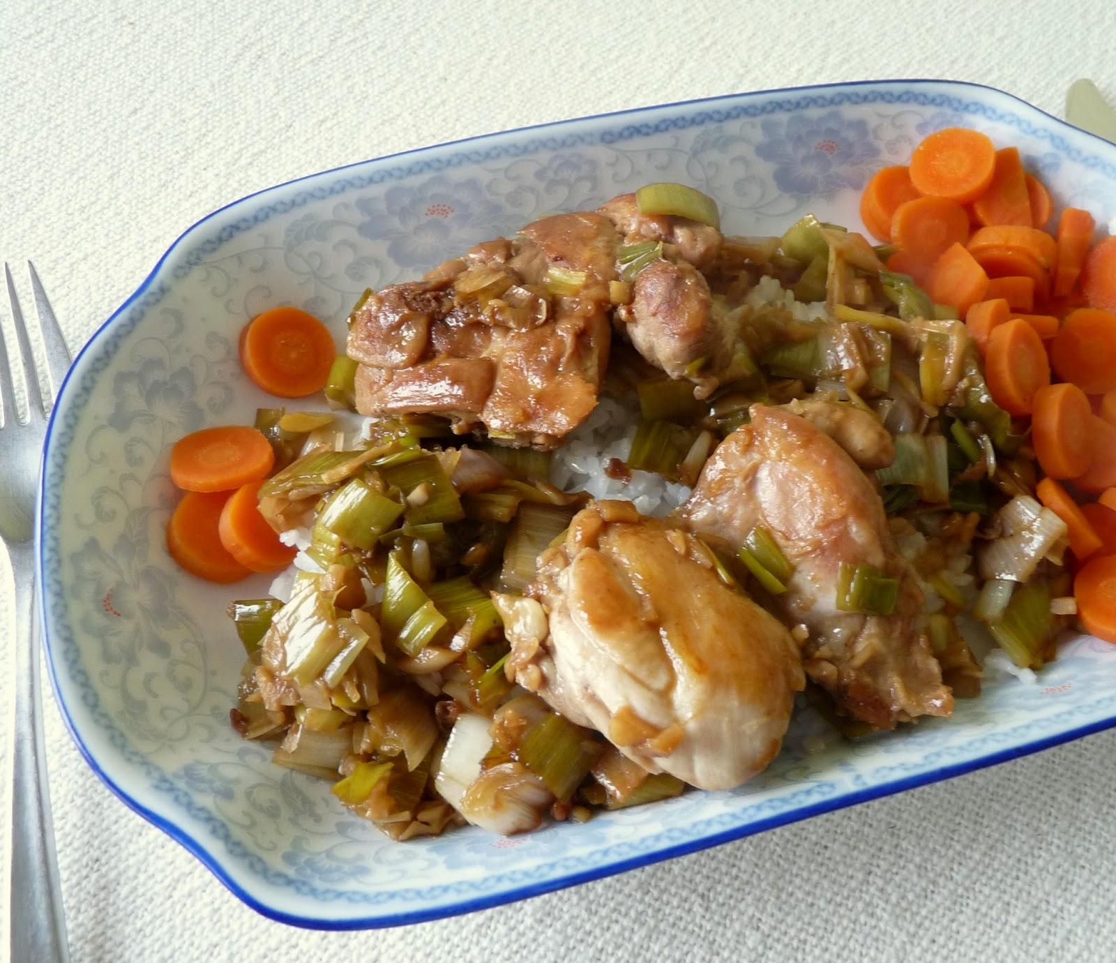 Quick Braised Chicken with Leeks & Garlic