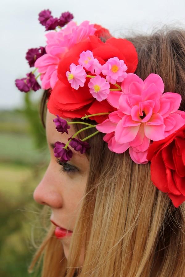 Couronnes fleurs rouge rose