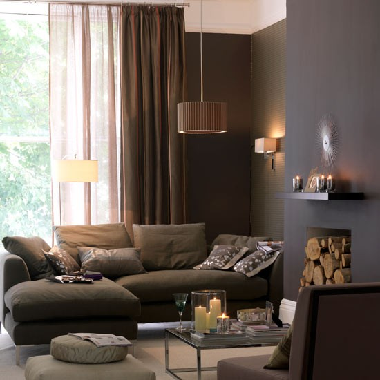 Ev dekorasyon hob oturma odas nda renk se imi Purple brown living room
