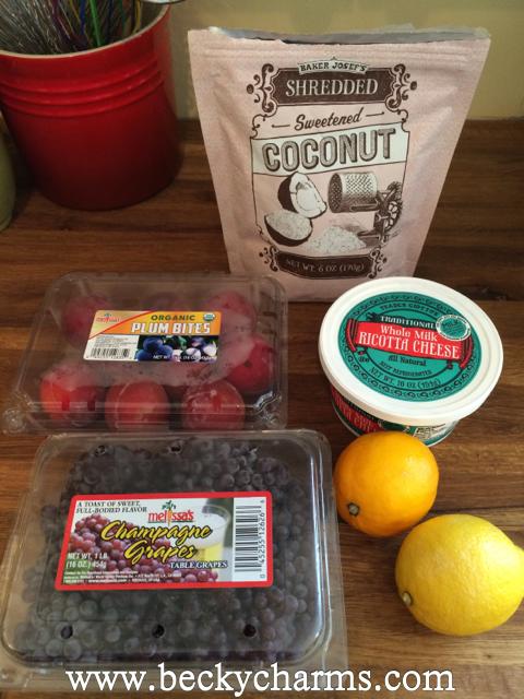 Melissa's Produce with Alex's Lemonade Stand {Sponsored} - Fresh Plum Bites with Lemon Honey Ricotta Cream by BeckyCharms 2014