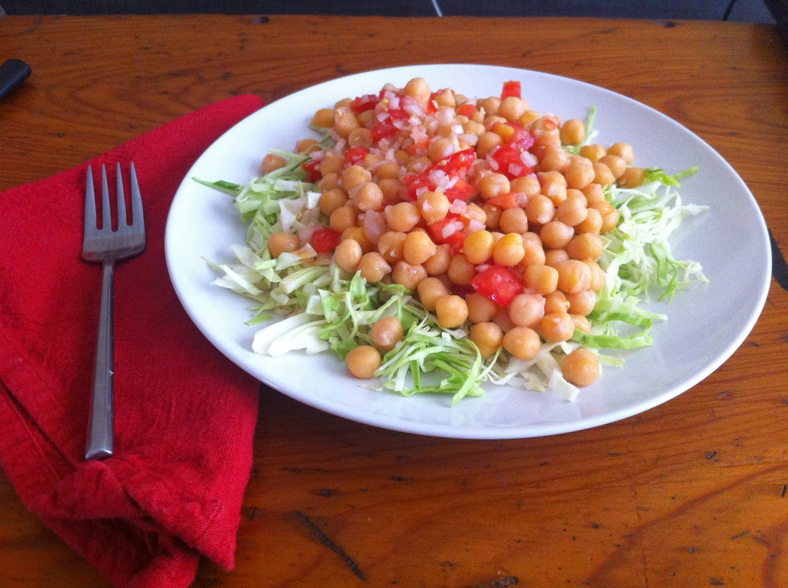 $0.45 dinner, chickpea onion tomato and cabbage salad