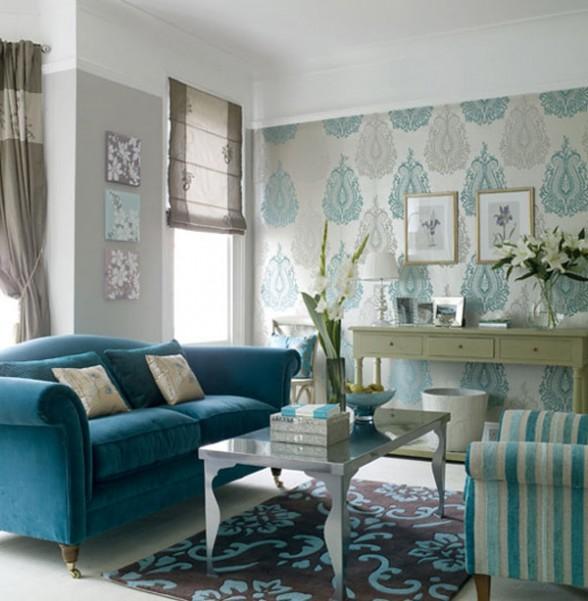 the shopping online: Salon bleu et brun idées de décoration