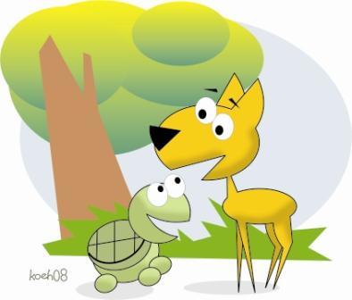 suatu hari ada seekor kancil dan seekor kura kura dan mereka