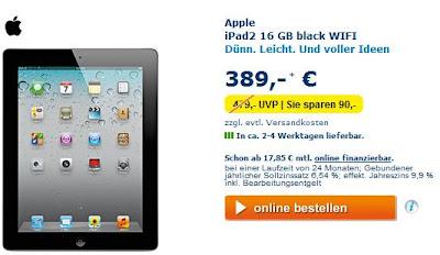 Apple iPad 2 16 GB Wifi bei Euronics für 394,95 Euro